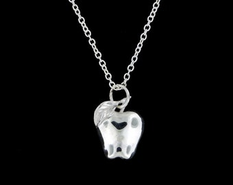 Sterling Silver Apple Pendant (Optional Chain)