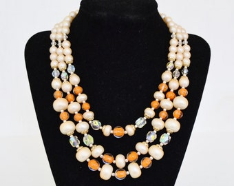 Vintage Triple Stranded Necklace with Orange Glass Beads and Faux Pearls