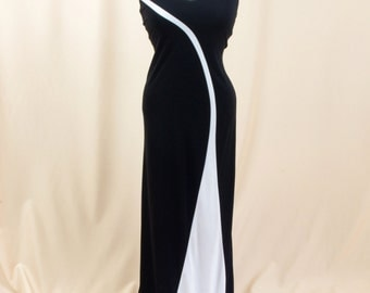 White and Black Maxi Dress * Black Evening Gown * Black Cocktail Dress * Black Dress * Wedding Dress * Jodi Kristopher * 80s Dress