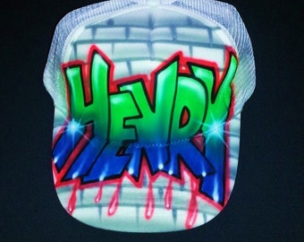 Airbrush Trucker Hat With Graffiti Name And Bricks, Graffiti Hat, Graffiti Cap, Airbrush Trucker Hat, Hip Hop Hat, Airbrush, Hat, Cap