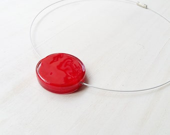 Red bead necklace - red lampwork necklace - red glass necklace - red flat round bead necklace