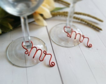 Wire Wine Charms - Rustic Wine Charms - Personalized Wine Charms - Name Wine Charm - Custom Wine Charm - Mr and Mr - Same Sex