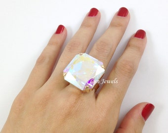 Crystal AB Ring, Swarovski Crystal Large Square Cocktail Ring, Nickel Free Gold Plated Octagon Ring