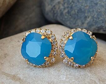 Blue Earrings, Blue Swarovski Studs, Blue Swarovski Earrings, Blue Crystal Studs, Swarovski Studs, Sky Blue Earrings, Blue Stud Earrings
