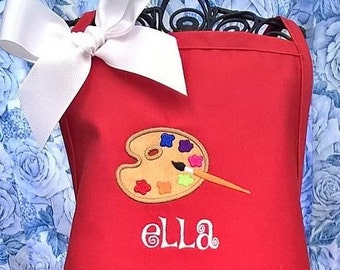 Child's Paint Apron Personalized Apron for Art Childrens Craft Apron Monogrammed Brthday Gift