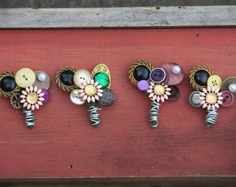 Boutonniere Vintage buttons pearls groom groomsmen