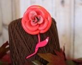 Very Large Pink Enamel Rose Vintage Brooch Vintage Pin Bright Pink Fuchsia