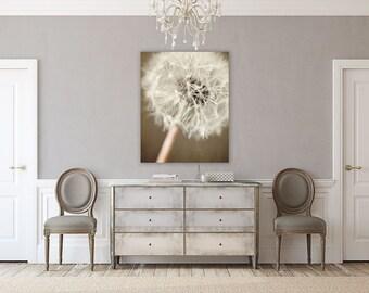 METAL Art: Brown Shabby Chic Decor, Dandelion Metal Print, Beige Brown Cream, Rustic, Autumn Colors, Warm  Metal, Floral Art