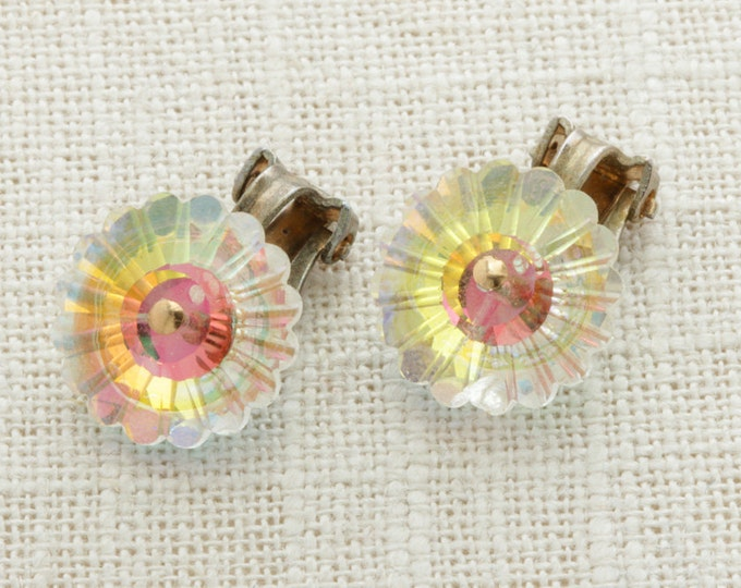Iridescent Earrings Clip On AB Aurara Borealis Flower Floral Shape | Clip On Earings | Costume Jewelry | True Vintage 16A