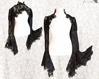 Shrug Victorian, black lace bolero, steampunk sleeves, Devia, Somnia Romantica, size XL - 2XL , see item details for measurements
