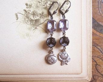 Old Rose Earrings / Antique Button Jewelry / Asymmetrical Assemblage Earrings / OOAK
