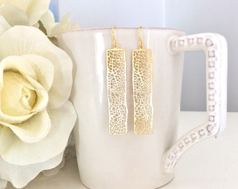 Gold Bar Earrings, Dangle Earrings, Bridesmaid Jewelry, Bohemian Jewelry, Gifts for Her Best Friend Gifts Boho Earrings Boho Girlfriend gift