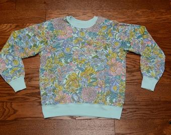 vintage 70s 80s floral pattern sweatshirt flower print allover print pastel flower design jumper 1970 1980 small S
