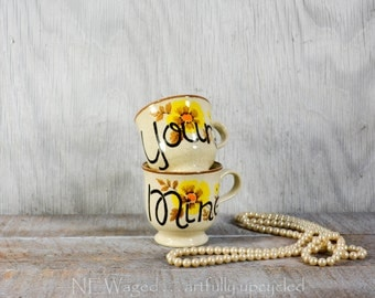 Yours and mine coffee mugs, cute 70's coffee cups, couple gift