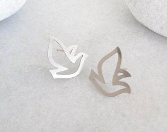 Silver Bird Ear Studs - Silver Earrings, Silver Studs, Bird Earrings, Bird Jewellery, Swallow Earrings, Origami Earrings, Sterling Silver