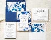 "Royal Blue Wedding Invitations, Modern Wedding Invites, Gold and Navy, Calligraphy, Elegant, Floral Envelope Liners - ""Urban Garden"" Sample"