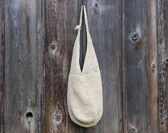 Vintage Woven Paper Straw Shoulder Bag / Summer Shoulder Bag / Purse