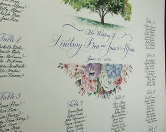 Wedding Seating Chart custom painted with your Wedding FLowers, Church or Location