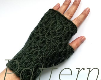 Knit Fingerless Gloves Pattern // Ironwork Mitts - Pattern Only - PDF