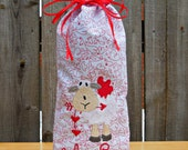 Wine/Champagne bottle bag/cover Valentine machine embroidered bag/cover