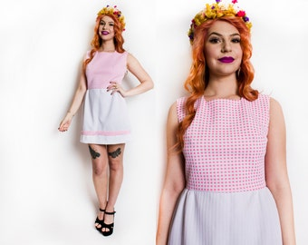Vintage 1960s Dress - Pink Gingham Mini Dress Baby Doll Mod 60s - Small S