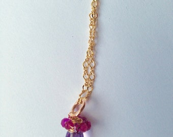 Amethyst Pink Tourmaline, Gold Necklace, Simple, Lilyb444, Bridesmaid,