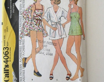 1970s Swimsuit and Cover Up Pattern McCalls 4063 Womens Two Piece Bathing Suit & Wrap Robe Jacket Sewing Pattern Size 10 Bust 32.5 UNCUT