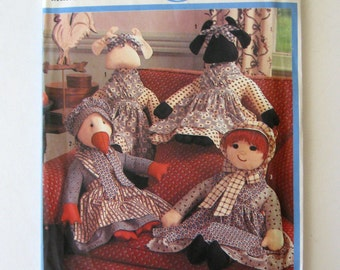 1980s Stuffed Cow Duck and Girl Doll Pattern Simplicity 9539 22 inch Dolls & Doll Clothes, Stuffed Animal Toy Sewing Pattern, New Baby UNCUT