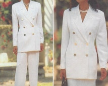 90s Ellen Tracy Womens Double Breasted Jacket, Skirt & Pants Butterick Sewing Pattern 4008 Size 12 14 16 Bust 34 36 38 UnCut 3 Piece Suits