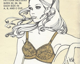 1970s Womens Bra Pattern Sew Lovely Sewing Pattern B70 Sizes 10 12 14 Bust 32 34 36 in A, B and C Cup UnCut Laverne Devereaux Pattern