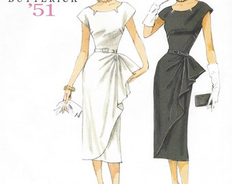 Retro 50s Womens Dress with Side Overlay Butterick Sewing Pattern B5880 Size 14 16 18 20 22 Bust 36 to 44 UnCut Wiggle Dress Pattern