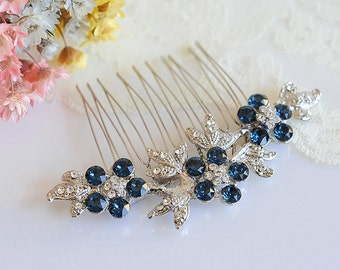 BLUE Bridal Hair Comb, Crystal Hair Comb, Swarovski Crystal Flower Leaf Hair Clip, Vintage Style Hair Jewelry (Signature Collection) KENNICE