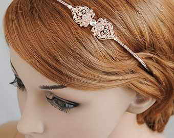 Rose Gold Bridal Headband, Wedding Headband, Crystal Filigree Headband, Vintage Style Bridal Hairband, Bridal Hairpiece, Hair Jewelry, GRACE
