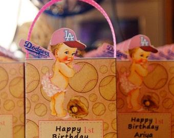 Baseball Girl favor box,  favor box, Baby Baseball party, baseball girl party favors, baseball baby, Favor Boxes. Set of 10