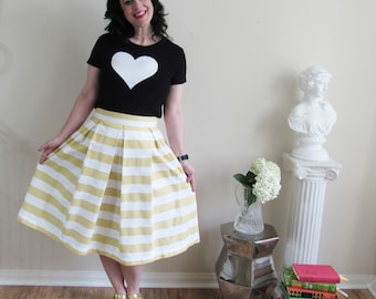 Striped Skirt Pleated, Full, knee length, Midi or Maxi classic, preppy style custom made also in plus size in a lovely Golden Champagne