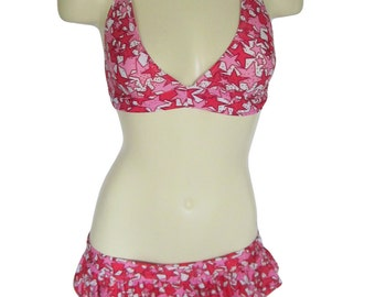 Micro Ruffle Skirt & Halter Top in Hot Pink, Pink and White Glitter Star Print Spandex Size S Stripper