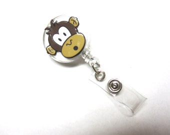 Surprised Monkey Retractable ID Badge Reel White Name Tag Holder