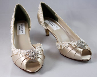 "Champagne wedding heels- The Corrisa  - Low Heel 1.75"" heel"
