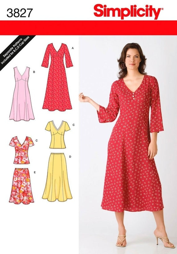 simplicity pattern 3827 misses s dresses tops
