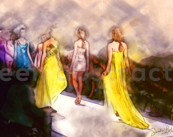 Final Walk I: Fashion Runway, Wall Art Canvas Print, Home or Office Decor, Yellow, Blue, Purple Flowing Dresses, Digital Art
