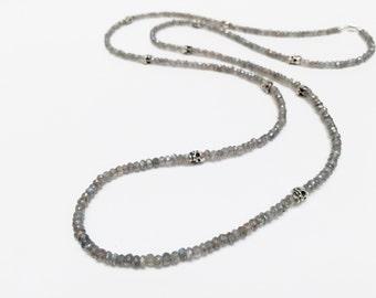 Skullhead Labradorite Beaded Necklace