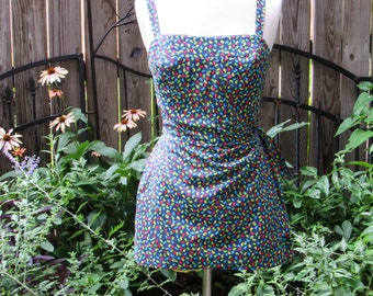 Vintage Gabar Retro Pinup Bombshell Full Coverage One Piece Swimsuit with Skirt and Side Tie / 70s Bathing Suit Playsuit Beachwear Swimwear