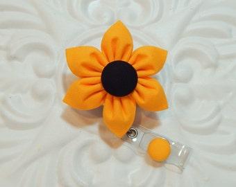 Badge Holder - Id Badge Holder - Badge Reel - Retractable Badge - Nurse Badge Holder -  Blackeyed Susan Flower