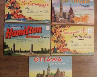 Eleven Souvenir Postcard Folders 1953 - 1964