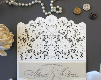 Laser Cut Wedding Invitation Package - Southern Charm Elegant Ivory Lace Invitation Response Card Custom Colors Available Shimmer Cardstock