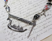 Adventure on the High Seas- Sterling Silver Antique Far Eastern Ship, Enamel Shield Charms, Sword, Siam Bracelet parts- One of a Kind