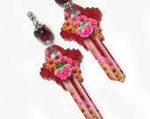 Handmade Upcycled Recycled steampunk dangle key earrings, key steampunk earrings, real keys, pink, red, black, printed key, dangle steampunk