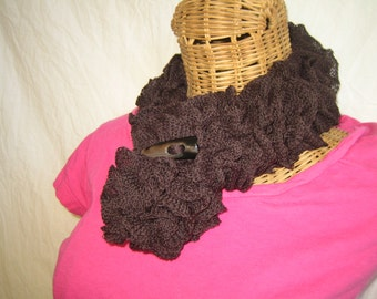 Knitted Solid Chocolate Brown ruffle women's button wrapped neck scarf cowl Merino Wool Blend