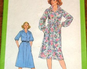 Simplicity 8679 Shirtwaist Dress, Shirt Dress with Tie Belt, Women's Misses Vintage 1970s Sewing Pattern Size 16 Bust 38 Uncut Factory Folds