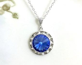 Sapphire Necklace Crystal Rivoli Rhinestone Necklace September Birthstone Prom Winter Wedding Bridesmaid Jewelry Wedding Jewelry